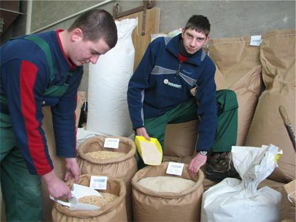 Prüfung der Futtermittel in der Mühle.