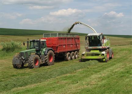 Häcksler im Einsatz bei der Grasernte. Das Häckselgut wird mit Muldenkippanhängern zur Lagerstätte gebracht.